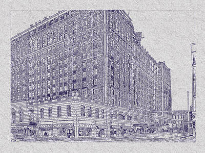 Drawing - Memphis Peabody Hotel Blueprint by Barry Jones