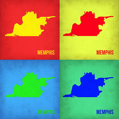 Memphis Painting - Memphis Pop Art Map 1 by Naxart Studio