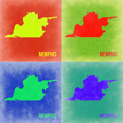 Memphis Painting - Memphis Pop Art Map 2 by Naxart Studio