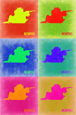 Memphis Painting - Memphis Pop Art Map 3 by Naxart Studio
