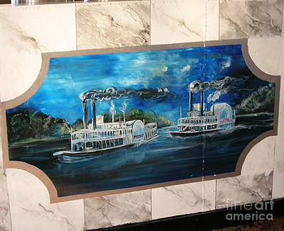 Painting - Memphis Riverboats Q3 Marbling And Bar Mural by Lizi Beard-Ward