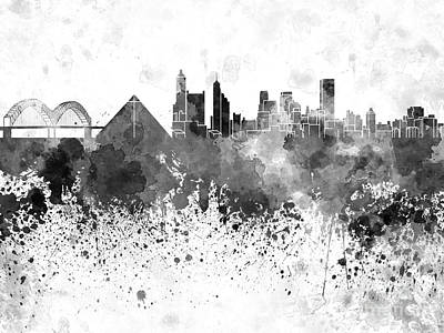 Memphis Skyline In Black Watercolor On White Background Print by Pablo Romero