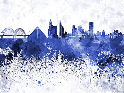 Memphis Skyline In Blue Watercolor On White Background Print by Pablo Romero