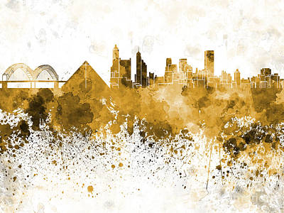 Memphis Skyline In Orange Watercolor On White Background Print by Pablo Romero