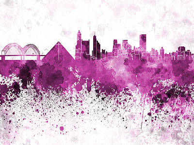 Memphis Skyline In Pink Watercolor On White Background Print by Pablo Romero
