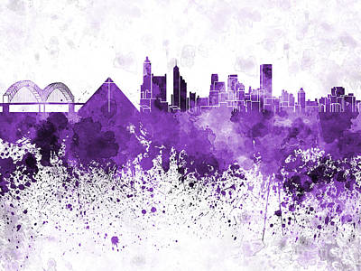 Memphis Skyline In Purple Watercolor On White Background Print by Pablo Romero