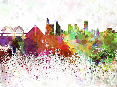 Memphis Skyline In Watercolor On White Background Print by Pablo Romero