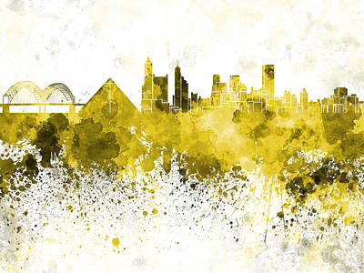 Memphis Skyline In Yellow Watercolor On White Background Print by Pablo Romero