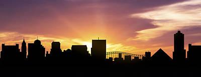 Memphis Skyline Panorama Sunset Art Print by Aged Pixel