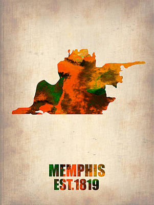 Memphis Painting - Memphis Watercolor Map by Naxart Studio