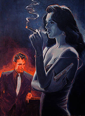 Woman With Black Hair Painting - Men And Cigars Were The Same To Zelda If You Got Em Smke Em by Shawn Shea