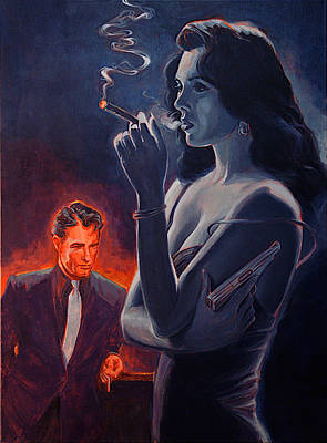Woman With Black Hair Painting - Men And Cigars Were The Same To Zelda If You Got Em Smoke Em by Shawn Shea