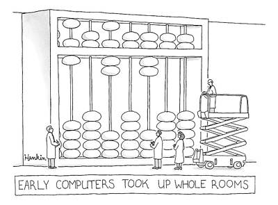 Abacus Drawing - Men And Women In Lab Coats Stand In Front Of An by Charlie Hankin