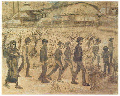 Work Place Drawing - Men And Women Miners Going To Work by Vincent van Gogh