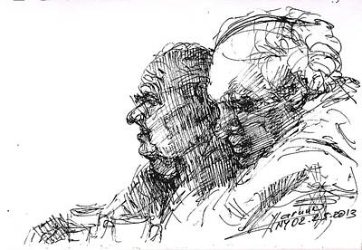 Sketch Drawing - Men At Cafe by Ylli Haruni