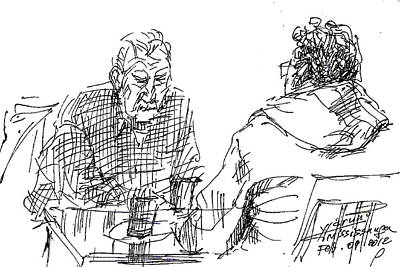 Cafes Drawing - Men At The Cafe by Ylli Haruni