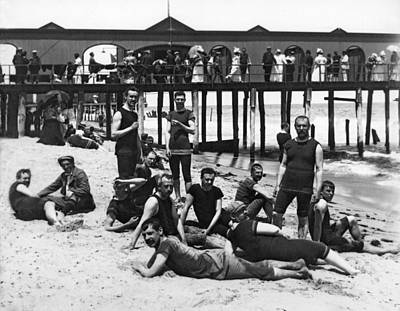 1880s Photograph - Men Bathers By The Boardwalk by Underwood Archives