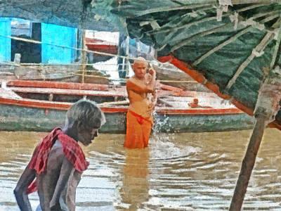 Digital Art - Men Bathing In The Ganges River by Digital Photographic Arts