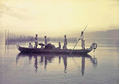 Canoe Drawing - Men In A Canoe In The Bay Of Ambon, Indonesia by Artokoloro