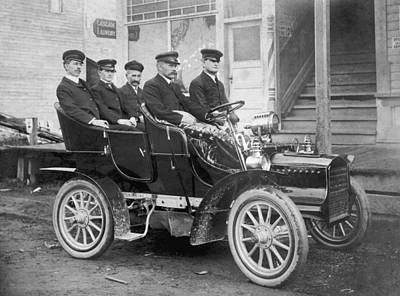 Men In An Early Auto Art Print by Underwood Archives