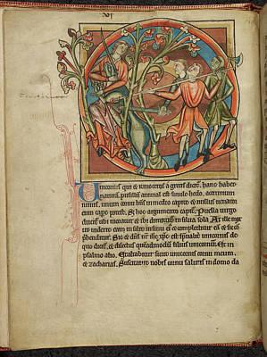 Unicorn Photograph - Men Killing A Unicorn by British Library
