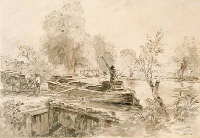 River Stour Drawing - Men Loading A Barge On The Stour, 1827 by John Constable