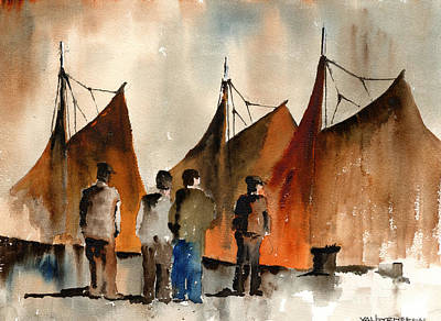 Painting - Men Looking At Hookers  Galway by Val Byrne