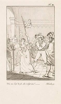 Fleur De Lis Drawing - Men Near A Woman With A Flag, Danil Veelwaard by Dani?l Veelwaard (i) And Jacob Smies And Fran?ois Bohn