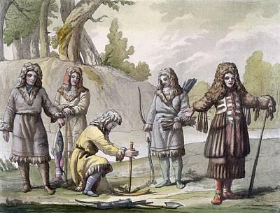 Five Drawing - Men Of Kamchatka, Far Eastern Russia by Italian School