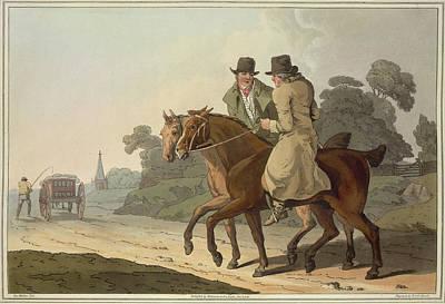 Men On Horseback Art Print by British Library