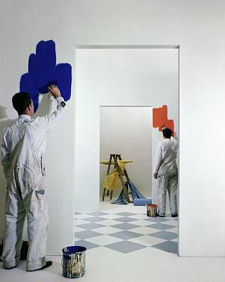 Young Man Photograph - Men Painting Walls by Herbert Matter