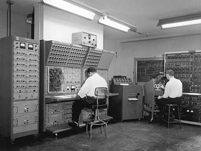 Men Working On Analog Computer Art Print by Underwood Archives
