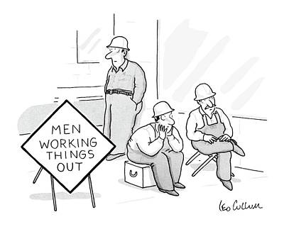 Introspective Drawing - Men Working Things by Leo Cullum