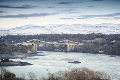 Bank Clouds Hills Photograph - Menai Bridge - Winter by Christine Smart