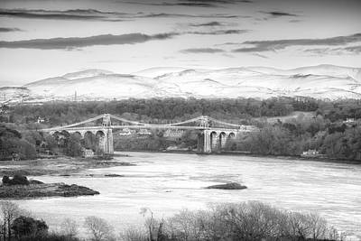 Bank Clouds Hills Photograph - Menai Bridge Winter Monochrome by Christine Smart