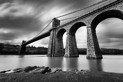 Historical Photograph - Menai Suspension Bridge by Dave Bowman