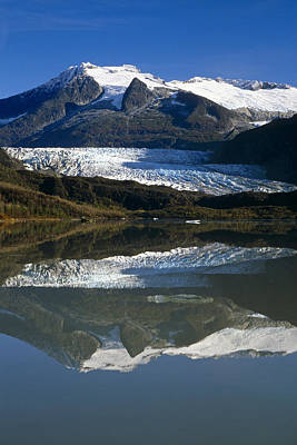Mendenhall Glacier Reflects In Its Own Art Print by Peter Barrett