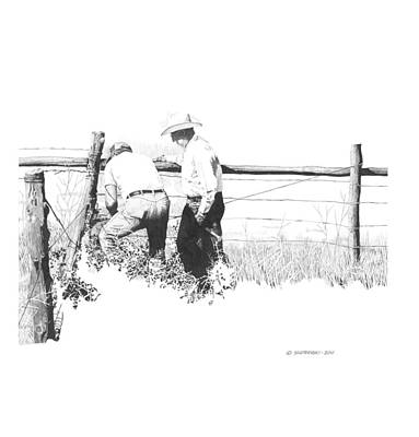 Wall Art - Drawing - Mending Fences by Paul Shafranski
