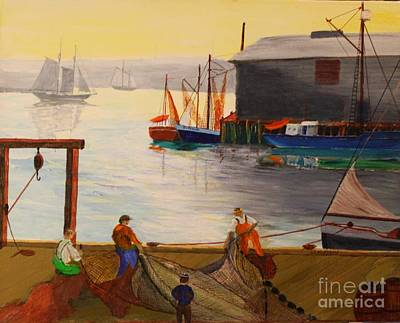 Painting - Mending Nets In Gloucester Harbor by Bill Hubbard