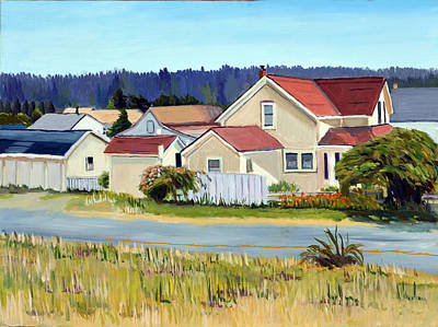 Cemetary Painting - Mendocino From Chinese Cemetery by Donald Gazzaniga