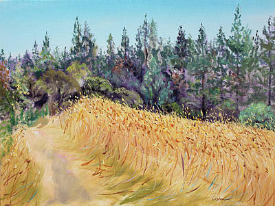 Bicycle Graphics - Mendocino High Grass Meadow at Susans Place in July by Asha Carolyn Young