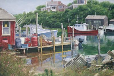 Menemsha Harbor Reds - Martha's Vineyard Art Print by Julia O'Malley-Keyes