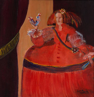 Ball Gown Photograph - Menina In Red With Small Cockerel Oil & Acrylic On Canvas by Marisa Leon