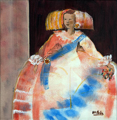 Menina With Sash And Flower Oil & Acrylic On Canvas Art Print by Marisa Leon