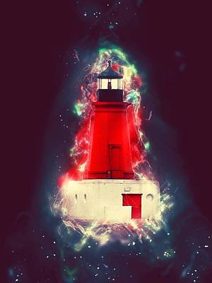 Photograph - Menominee Mi Lighthouse In Space by Mark J Seefeldt