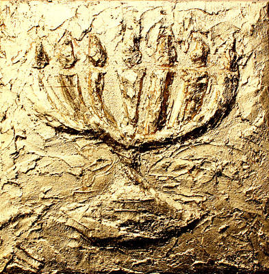 Messianic Painting - Menorah by Sandra Yegiazaryan