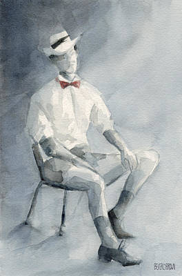 Abstract Portrait Painting - Mens Fashion Illustration Art Print Hat And Bowtie by Beverly Brown Prints