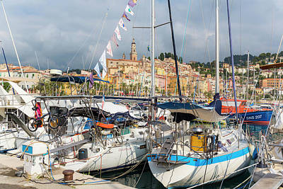 Menton, France.  View Over Harbour Art Print by Ken Welsh