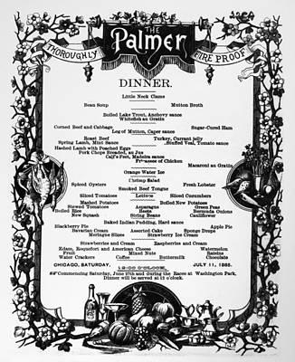 Menu Palmer House, 1885 Art Print by Granger