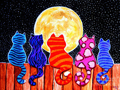 Colorful Painting - Meowing At Midnight by Nick Gustafson